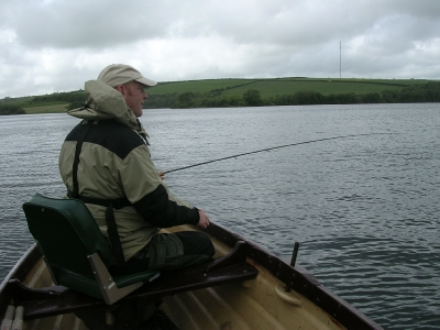 Bryan surveys the water for signs of rising fish on Llys y fran